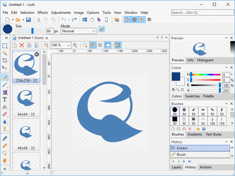 Icon editor with support for Windows 10